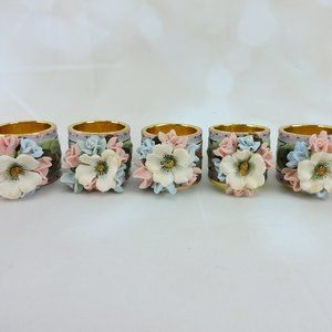 Other - Vintage Fabric & Floral Napkin Ring Set of 5 MCM
